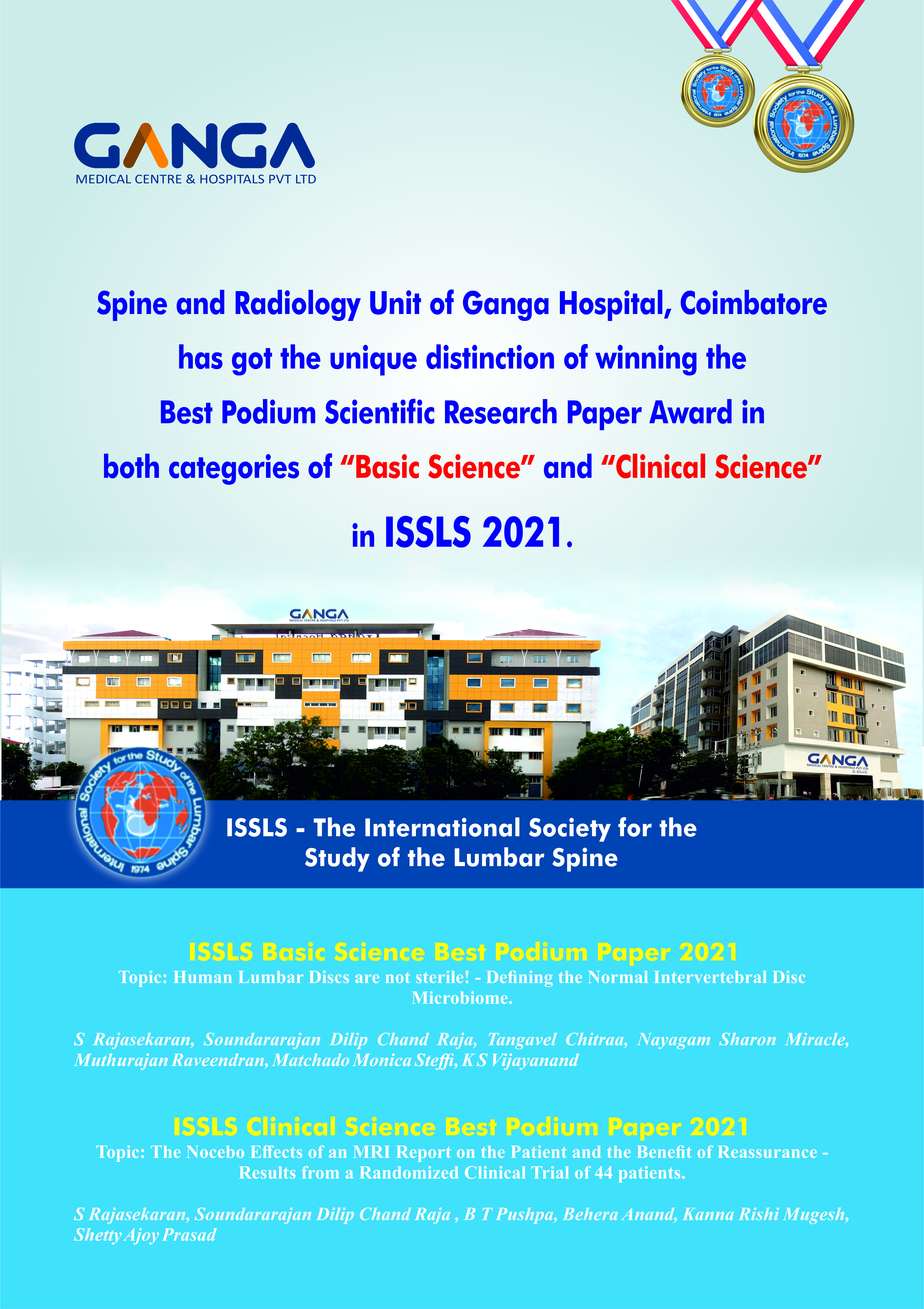ISSLS Clinical Science Best Podium Paper Award 2021